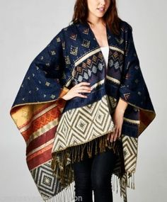 CHELSEA-VERDE-Moroccan-Woven-Navy-Boho-Blanket-Poncho-Sweater-Cardigan-617B-OS