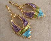 Beadwork - Russian Leaf Earrings - Purple/Chartreuse/Blue - Free Shipping