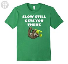 Mens Slow Still Gets You There Funny Sloth Animal T-Shirt Medium Grass - Funny shirts (*Amazon Partner-Link)
