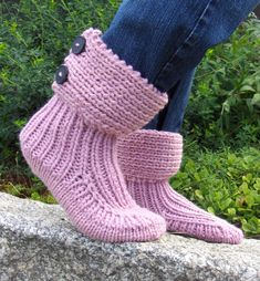 Free Knitting Pattern for Moon Socks Slipper Boots