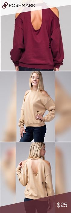 Burgundy Shredded cold shoulder Sweatshirt 100% Cotton, NWT, trendy with detail cut out/slits through out top. Super cute! Boutique Tops Sweatshirts & Hoodies
