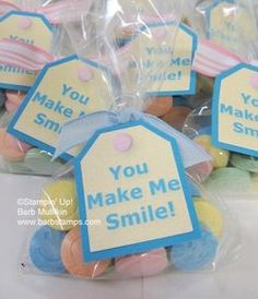 You make me smile. These cute little tags were created in My Digital Studio and p rinted on my home computer.  www.barbstamps.com