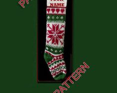 Hand knit Christmas stocking pattern only reindeer by sby4718