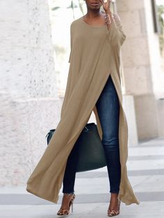 Stylish Solid High Slit Casual Blouse (S - Diy Crafts - hadido Look Fashion, Womens Fashion, Fashion Design, Fashion Trends, Ladies Fashion, Fashion Ideas, Feminine Fashion, Fashion Spring, Fashion Advice