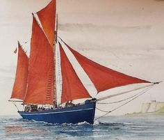 The Torbay Lass  watercolour painting by Edward Girard millmansholidaycottages.co.uk Watercolour Painting, Sailing Ships, Zentangle, Boat, Paintings, Dinghy, Paint, Zentangles, Painting Art