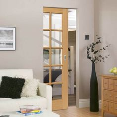 Four Sliding Doors and Frame Kit - Emilia Oak Flush Door - Stepped Panel Design - Clear Glass - Unfinished Oak Doors, Wooden Doors, Entrance Doors, Track Door, Door Fittings, Flush Doors, Mdf Frame, Architrave, Pocket Doors