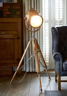 Buy Riviera Maison Hollywood Studio Floor Lamp online with Houseology's Price Promise. Full Riviera Maison collection with UK & International shipping. Hollywood Studios, Hollywood Glamour, Luxury Interior Design, Interior Decorating, Tripod Lamp, Lamp Shades, Furniture Design, Inspiration, Home Decor