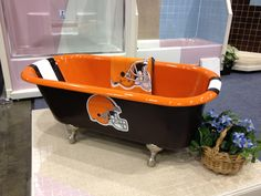 The tub of a true Cleveland Browns fan!