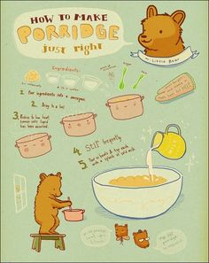 How to make Porridge. By Monica Ramos. How To Make Porridge, Making Porridge, Cute Food, Yummy Food, Recipe Drawing, Porridge Recipes, Food Drawing, Vintage Recipes, Food Illustrations