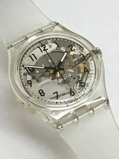 Vintage Swatch Watch Transparent GK209 1994 1996 Clear Skeleton See Through Retro Holiday Christmas