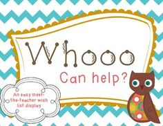 Whooo Can Help? Wish List for Back to School and Meet the