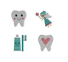 4 Mini Tooth Fairy Machine Embroidery Designs-INSTANT DOWNLOAD