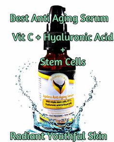 3 in 1 Facial Serum - Vitamin C and Hyaluronic Acid & Triple Stem Cell - Sale 67% Off - Very Effective and Potent Anti Aging Anti Wrinkle Smoothing Serum for Face - Best for Wrinkles , Skin Tightening - Removes Dark Spots, Fine Lines, Blemishes & Scars.
