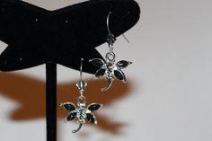 Black Crystal & Silver Dragonfly Dangles by GemsByJennie on Etsy, $10.00