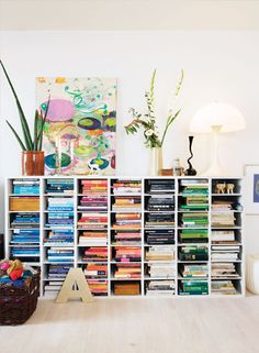 vertically stacked bookcase (by color)