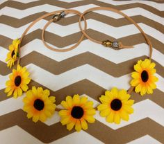 Sunflower Halo / Flower Headband / Flower Crown --  ✿ Handmade halo with full sunflowers across the front and beads finishing off the ends.