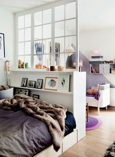 "Home ""Alone"": Small Space Hacks for Creating Privacy At Home (Apartment Therapy Main) Apartment Therapy, One Room Apartment, Apartment Living, Apartment Interior, Apartment Design, Room Interior, Family Apartment, Interior Windows, Apartment Layout"