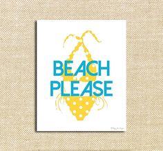 Beach Please Yellow Polka Dot Bikini Summer Beach Party, Polka Dot Bikini, Summer Bikinis, Project Nursery, Typography Inspiration, Printable Art, Trending Outfits, Yellow, Unique Jewelry