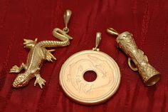 Gold pendants from Papua New Guinea.