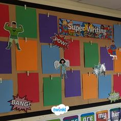 This Ready Made Superheroes Display Pack contains everything you need to recreate this class display. Contains building outlines, super hero figures and much more! Superhero Writing, Superhero Classroom Theme, Eyfs Classroom, Classroom Themes, Superhero Superhero, Physics Classroom, Primary School Displays, Class Displays, Teaching Aids