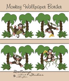 Jungle Monkey Wallpaper Border Wall Decals for baby boy nursery or children's safari bedroom decor. Monkeys swinging and hanging around in trees #decampstudios