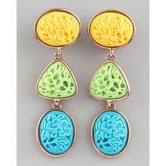 Oscar de la Renta Carved Cabochon Earrings, Pastel ($290) ❤ liked on Polyvore