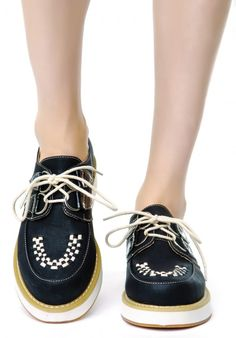 Wanted Elmhurst lace up Wedge Oxfords in black