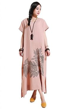 Mordenmiss Womens Summer Daily Dress Embroidery Maxi Dress Dark Beige * Be sure to check out this awesome product.