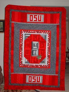 Ohio State Buckeyes Block O Lap Size Handmade by MadebyLizzie ... : quilting university - Adamdwight.com