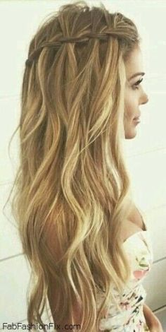waterfall braid with loose curls - Google Search