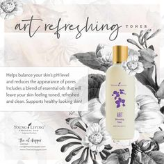 ART® Refreshing Toner gently removes impurities without drying the skin. The perfect blend of essential oils helps balance your skin's pH, while leaving your face clean, toned, and refreshed. Coconut Essential Oil, Essential Oils For Skin, Rose Essential Oil, Young Living Essential Oils, Serum For Dry Skin, Facial Wash, Organic Living, Skin Cream, Organic Beauty