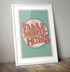 Valar Morghulis Retro Offset Typographic by thedesignersnursery, $30.00 #GameofThrones, #valarmorghulis