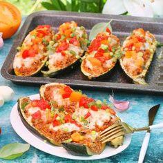Cukinia faszerowana Bruschetta, Baked Potato, Zucchini, Diet Recipes, Pork, Potatoes, Baking, Dinner, Vegetables