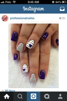 Purple compassionate love for valentine's day 💜💜💜 Summer Acrylic Nails, Cute Acrylic Nails, Gel Nails, Pretty Nail Art, Gel Nail Designs, Professional Nails, Purple Nails, Square Nails, Stylish Nails