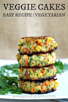 Crispy, easy veggie cakes made with grated vegetables – carrots, zucchini, broccoli and corn. Great for lunches, side dish or your small picky eaters. Watch the video for step by step instructions or check out this post on How to Make Veggie Cakes for hel Tasty Vegetarian Recipes, Veggie Recipes, Whole Food Recipes, Cooking Recipes, Healthy Recipes, Vegetarian Burgers, Veggie Food, Vegetarian Dishes For Dinner, Vegan Zucchini Recipes