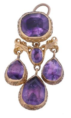 A 17th century gold and amethyst pendant, circa 1680, the top set with an oblong mixed cut amethyst in a foil backed closed back gold collet with chased gold scrolls around the collet edges, to a gold scrolled connection suspending three similarly set pear shaped amethyst drops, with a wire pendant loop, 3.4cm long.
