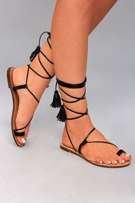 Veronica Black Lace-Up Flat Sandals