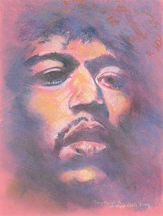 Jimi Hendrix - Pre-sightloss artwork by Arthur Ellis