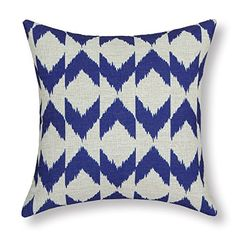 "Euphoria® Cushion Covers Pillows Shell Cotton Linen Blend Ikat Malposed Zigzag Stripes Geometric Figures Blue 18"" X 18"" Euphoria http://www.amazon.com/dp/B00MCYMY56/ref=cm_sw_r_pi_dp_pyLPub1MQ83BG"