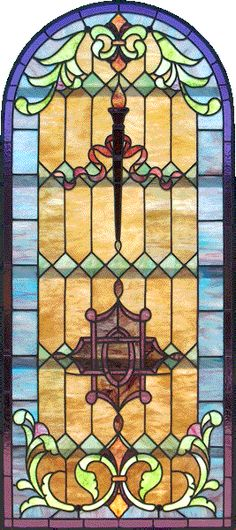 Victorian Stained Glass - Circa: 1890 -  Arch topped opalescent Victorian stained glass window. Well-designed mixture of geometric and sinuous floral elements, with torch and ribbon motif at center. Fine quality, medium density opalescence glass throughout. Delightful, easy-to-relate-to colors.