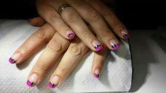 Mijn nagels okt 2014, roze french met zwart strikje#faynails