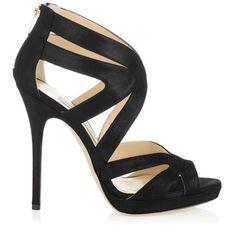 Black Shimmer Leather Platform Sandals | 24/7 Collection | JIMMY CHOO Shoes