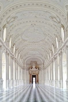 """The Palace of Venaria is a former royal residence located in Venaria Reale, near Turin, in Piedmont, northern Italy. The entrance of the palace leads into the Corte d'onore (""""Honour Court""""), which once housed a fountain with a deer. The main facade, covered in the 17th century section with plaster and featuring cornucopias, shells and fruits, is connected on the right by a part with brickworks added in the 18th century"""