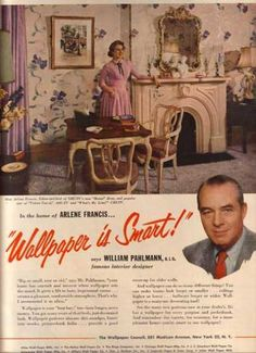The Wallpaper Council (1954) William Pahlman Interior designer. --- the home of – Arlene Francis with her lilac floral wallpapered living room... with white fireplace mantel...