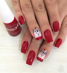 Love Nails, Red Nails, Hair And Nails, Exotic Nails, Red Nail Designs, Easter Nails, Nail Decorations, Nail Art Hacks, Cool Nail Art