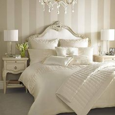 Striped walls in Master bedroom Cream Bedrooms, Cream Bedroom Walls, Cream Bedroom Decor, Striped Walls Bedroom, Ivory Bedroom, Cream Bedroom Furniture, Cream Walls, Kylie Minogue At Home, Suites