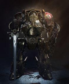 Adeptus custodes contemptor dreadnought warhammer fan art by Dmitriy Mironov Warhammer 40k Art, Warhammer Models, Warhammer Fantasy, Warhammer Figures, Legio Custodes, Grey Knights, Fantasy Armor, 3d Artist, Space Marine