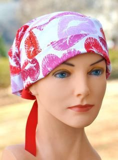 LARGE Perfect Fit Tie Back with RIBBON TIES  by thehatcottage (Accessories, Hats & Caps, scrub hats, surgical hats, ponytail style, pony style, pony pouch, nurse, hospital, surgical caps, scrub caps, womens scrub caps, womens scrub hats, womens surgical hats, womens surgical caps)