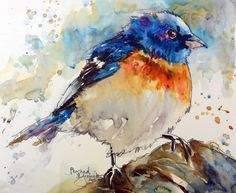 Bluebird - watercolor by Bev Joswiak Watercolor Paintings For Beginners, Watercolor Projects, Easy Watercolor, Watercolor Animals, Watercolor Flowers, Watercolour Paintings, Cute Birds, Fine Art Gallery, Animal Paintings