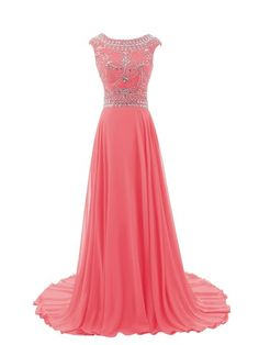 Diyouth 2015 Luxury Long Cap Sleeves Scoop Beaded Prom Dress at Amazon Women's Clothing store: